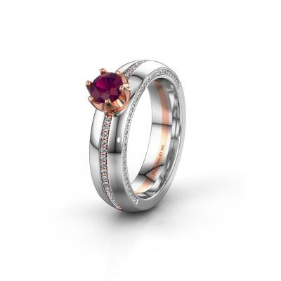 Huwelijksring WH0416L25E 585 rosé goud rhodoliet ±5x2.6 mm