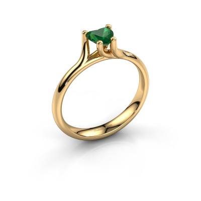 Engagement ring Dewi Heart 585 gold emerald 5 mm