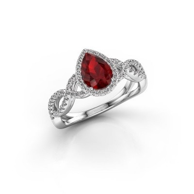 Engagement ring Dionne pear 925 silver ruby 7x5 mm