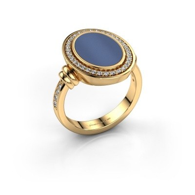 Heren ring Servie 585 goud blauw lagensteen 14x10 mm