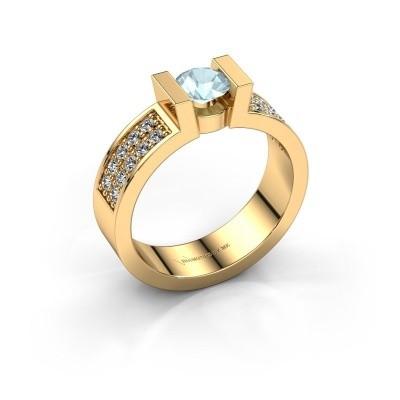 Verlovingsring Lieve 3 375 goud aquamarijn 5 mm