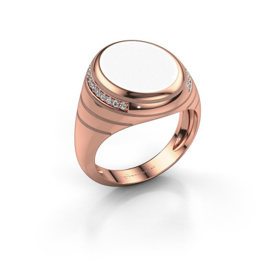 Zegelring Luuk 375 rosé goud witte emaille 15x12 mm