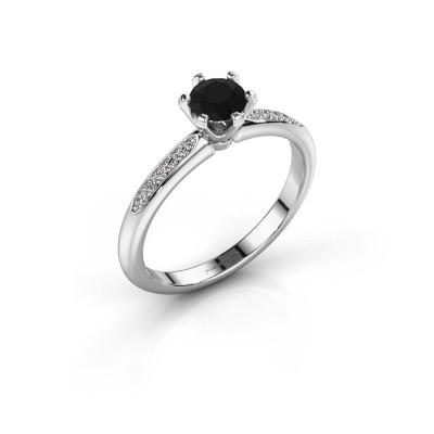 Verlovingsring Tiffy 2 585 witgoud zwarte diamant 0.48 crt