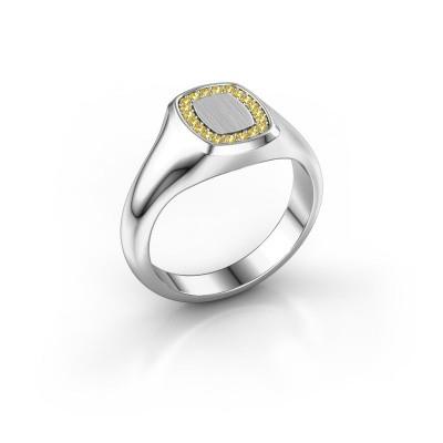 Foto van Heren ring Floris Cushion 1 375 witgoud gele saffier 1.2 mm