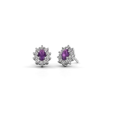 Picture of Earrings Leesa 925 silver amethyst 6x4 mm