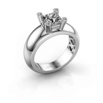 Ring Cornelia Square 925 silver lab-grown diamond 0.78 crt