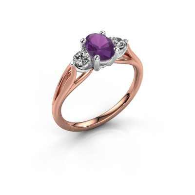 Picture of Engagement ring Amie OVL 585 rose gold amethyst 7x5 mm