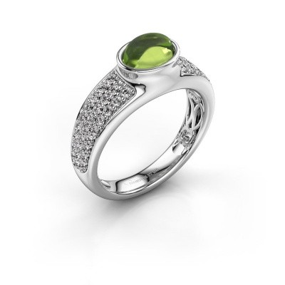 Ring Tatyana 375 white gold peridot 7x5 mm