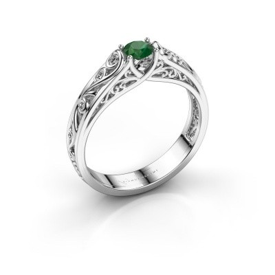 Picture of Ring Quinty 950 platinum emerald 4 mm