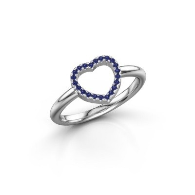 Foto van Ring Heart 7 585 witgoud saffier 1 mm