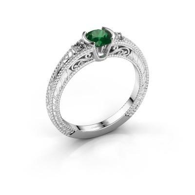 Foto van Verlovingsring Anamaria 585 witgoud smaragd 5 mm