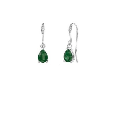 Picture of Drop earrings Laurie 2 375 white gold emerald 7x5 mm