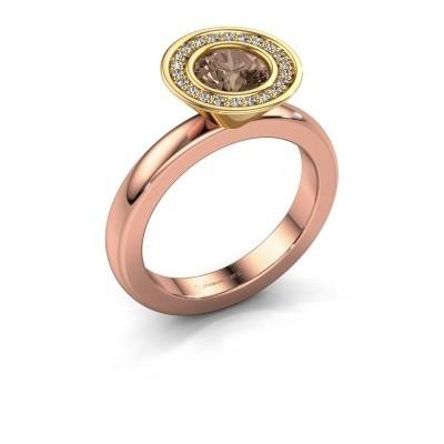 Stapelring Danille 585 rosé goud bruine diamant 0.91 crt