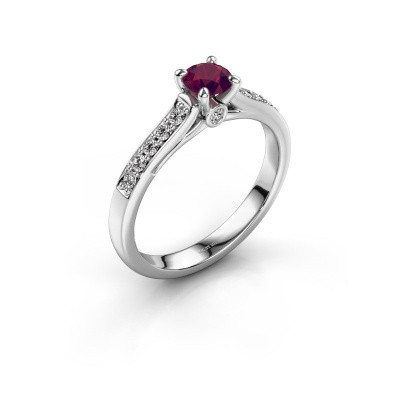 Photo de Bague de fiançailles Valorie 2 585 or blanc rhodolite 4.7 mm