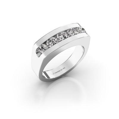 Foto van Heren ring Richard 375 witgoud zirkonia 4 mm