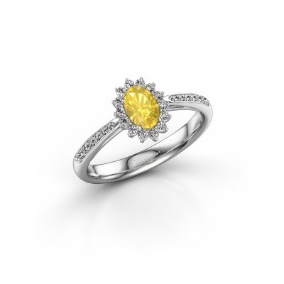 Engagement ring Tilly ovl 2 925 silver yellow sapphire 6x4 mm