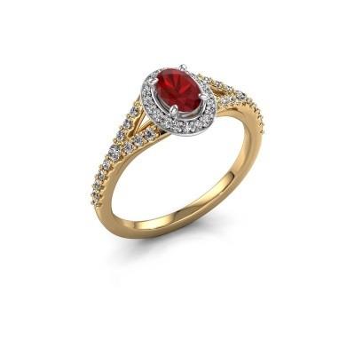 Belofte ring Pamela OVL 585 goud robijn 7x5 mm