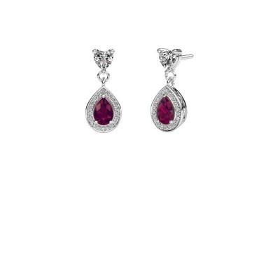 Drop earrings Susannah 950 platinum rhodolite 6x4 mm