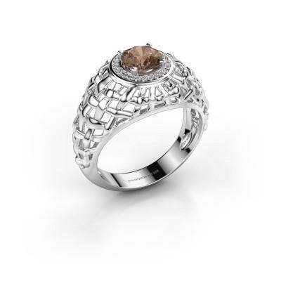 Pinkring Jens 950 platina bruine diamant 1.12 crt
