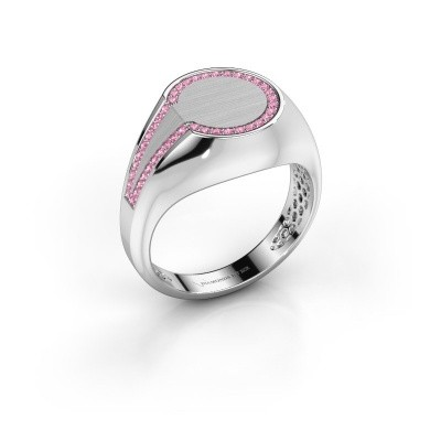 Foto van Heren ring Gijs 375 witgoud roze saffier 1 mm
