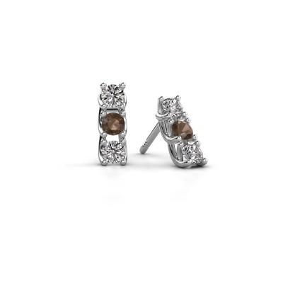 Picture of Earrings Fenna 925 silver smokey quartz 3 mm