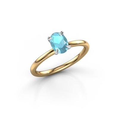 Foto van Verlovingsring Crystal OVL 1 585 goud blauw topaas 7x5 mm