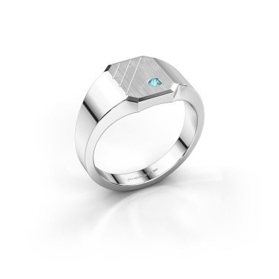 Picture of Signet ring Patrick 1 585 white gold blue topaz 2 mm