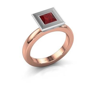 Stapelring Eloise Square 585 rosé goud robijn 5 mm