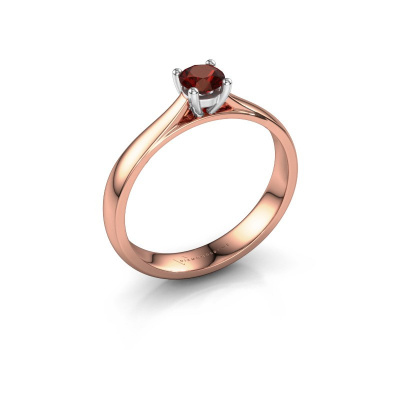 Engagement ring Sam 585 rose gold garnet 4.2 mm