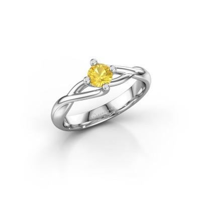 Foto van Ring Paulien 585 witgoud gele saffier 4.2 mm