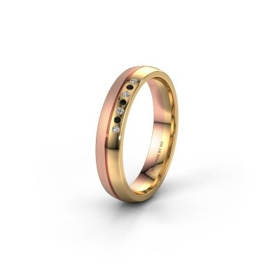 Wedding ring WH0216L24APM 585 gold black diamond ±4x1.7 mm