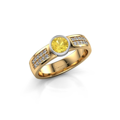 Engagement ring Ise 3 585 gold yellow sapphire 4.7 mm