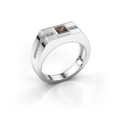 Foto van Heren ring Robertus 2 950 platina rookkwarts 4 mm