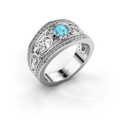 Foto van Ring Marilee 950 platina blauw topaas 5 mm