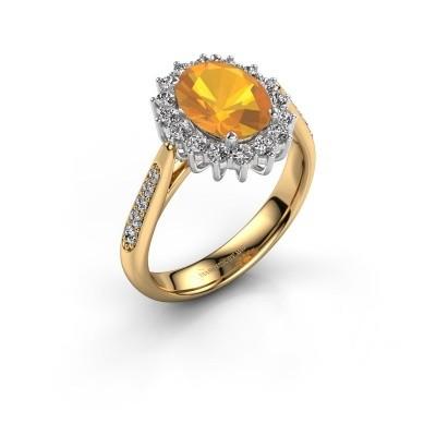Verlovingsring Margien 2 585 goud citrien 7x5 mm