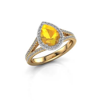 Verlovingsring Verla pear 2 585 goud citrien 8x6 mm