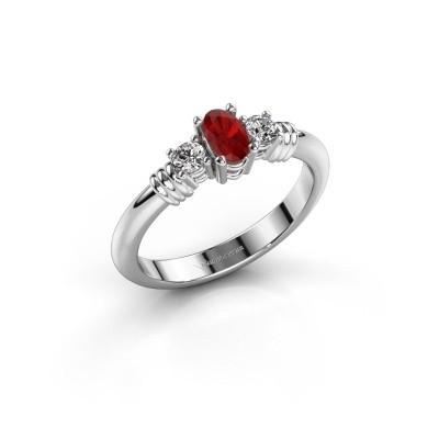 Foto van Promise ring Pippa 585 witgoud robijn 5x4 mm