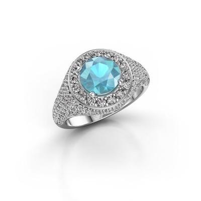 Foto van Ring Dayle 950 platina blauw topaas 7 mm