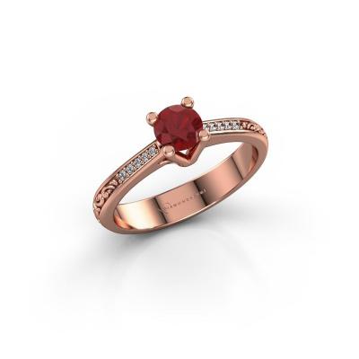 Foto van Verlovingsring Mei 375 rosé goud robijn 4.7 mm