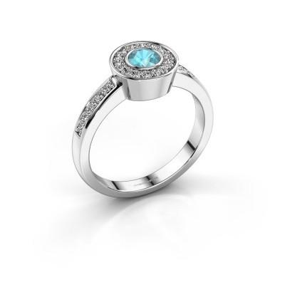 Ring Adriana 2 925 zilver blauw topaas 4 mm