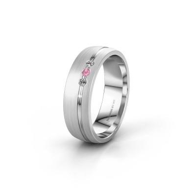 Trouwring WH0322L25AM 585 witgoud roze saffier ±6x1.7 mm