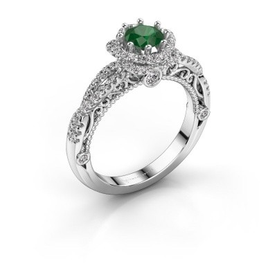 Engagement ring Lysanne 925 silver emerald 5 mm