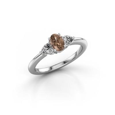 Foto van Verlovingsring Chanou OVL 925 zilver bruine diamant 0.920 crt