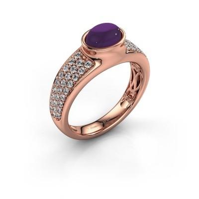 Ring Tatyana 375 rosé goud amethist 7x5 mm