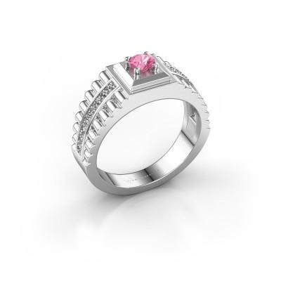Foto van Rolex stijl ring Maikel 585 witgoud roze saffier 4.2 mm
