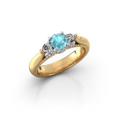 Bild von Verlobungsring Tiffani 585 Gold Blau Topas 5 mm