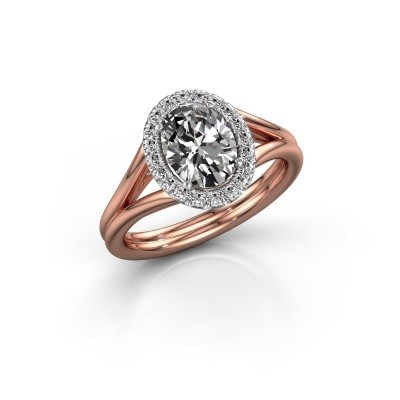 Engagement ring Rachele 1 585 rose gold zirconia 8x6 mm
