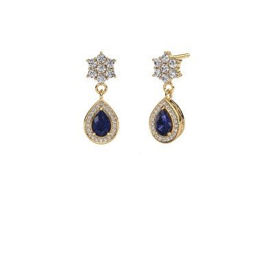 Picture of Drop earrings Era 375 gold sapphire 6x4 mm