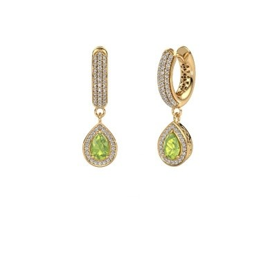 Picture of Drop earrings Barbar 2 585 gold peridot 6x4 mm