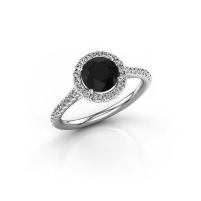 Picture of Engagement ring Seline rnd 2 585 white gold black diamond 1.64 crt